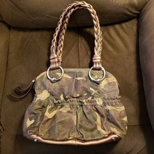 B Makowsky Camouflage Leather Handbag